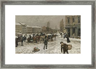 Stortingsplass Framed Print by Frits Thaulow