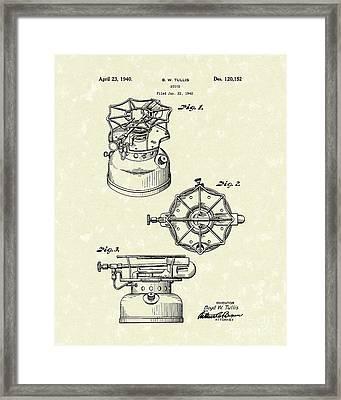 Stove 1940 Patent Art Framed Print by Prior Art Design