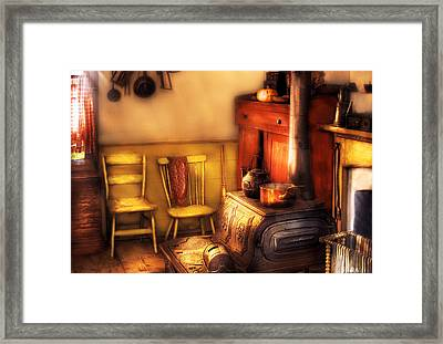 Stove - An Old Farm Kitchen Framed Print by Mike Savad