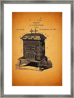 Stove Design And Patent 1886 Framed Print by Mountain Dreams
