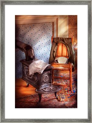 Stove - The Stove And The Chair  Framed Print by Mike Savad