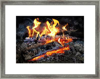 Stove - The Yule Log  Framed Print by Mike Savad