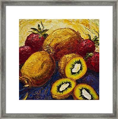 Strawberries And Kiwis Framed Print by Paris Wyatt Llanso