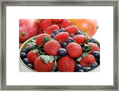 Strawberries Blueberries Mangoes - Fruit - Heart Health Framed Print by Andee Design