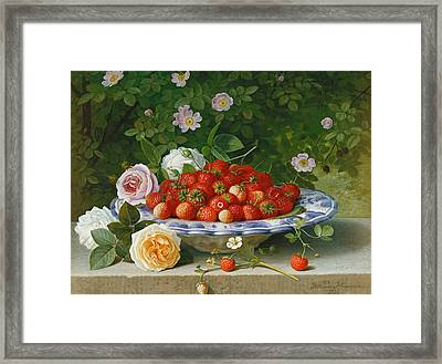 Strawberries In A Blue And White Buckelteller With Roses And Sweet Briar On A Ledge Framed Print by William Hammer