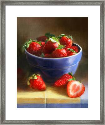 Strawberries On Yellow And Blue Framed Print by Robert Papp