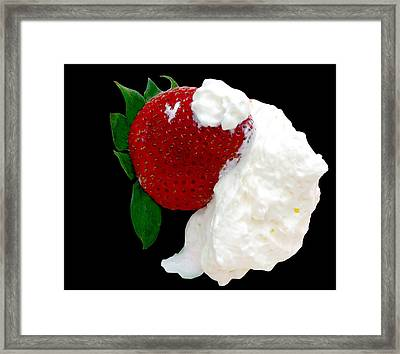 Strawberry And Cream Framed Print by Camille Lopez