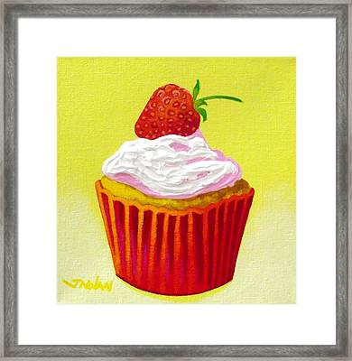 Strawberry Cupcake Framed Print by John  Nolan