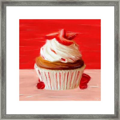 Strawberry Cupcake Framed Print by Lourry Legarde
