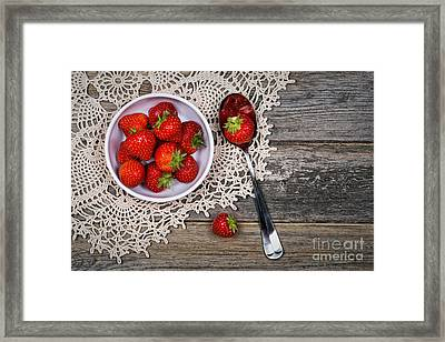 Strawberry Vintage Framed Print by Jane Rix