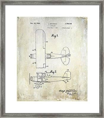1929 Stearman Patent Drawing Framed Print by Jon Neidert