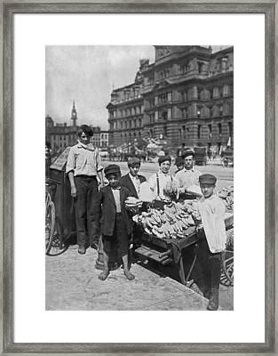 Street Banana Vendor Boys Framed Print by Underwood Archives