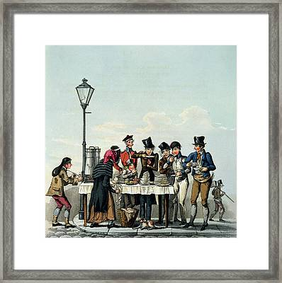 Street Breakfast Engraved By G.hunt Framed Print by English School