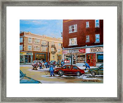Street Hockey On Monkland Avenue Paintings Of Montreal City Scenes Framed Print by Carole Spandau