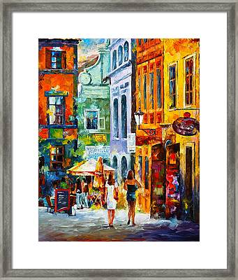 Street In Amsterdam Framed Print by Leonid Afremov