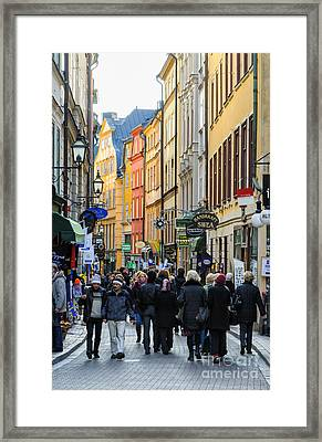 Street In Gamla Stan - The Old Part Of Stockholm - Sweden Framed Print by David Hill
