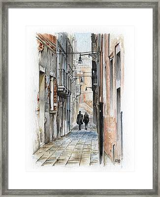 Street In Venice - Watercolor - Yakubovich Framed Print by Daniel Yakubovich