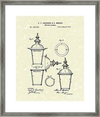 Street Lamp 1873 Patent Art Framed Print by Prior Art Design
