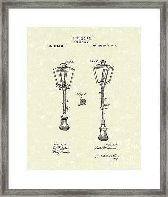Street Lamp 1876 Patent Art Framed Print by Prior Art Design