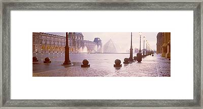 Street Lights Lit Up At Dawn, Louvre Framed Print by Panoramic Images