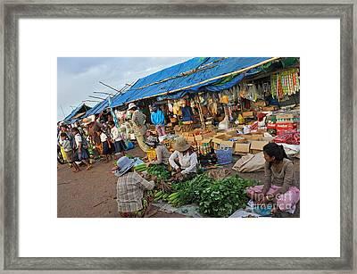 Street Market In Siem Reap Framed Print by Sami Sarkis