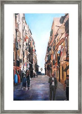 Street Scene Barcelona Framed Print by Robina Osbourne