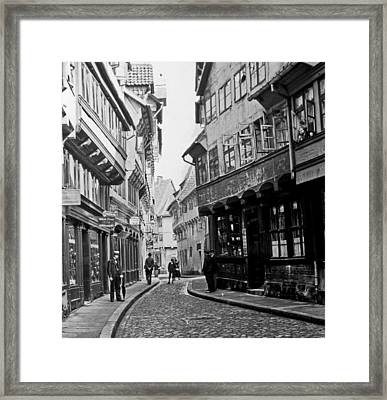 Framed Print featuring the photograph Street Scene Braunschweig Germany 1903 by A Gurmankin