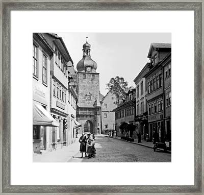 Framed Print featuring the photograph Street Scene Coberg Germany 1903 by A Gurmankin