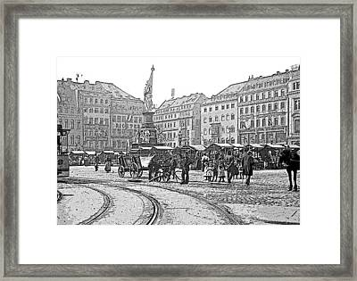 Framed Print featuring the photograph Street Scene Dresden Germany C1900 Vintage Poster Image by A Gurmankin