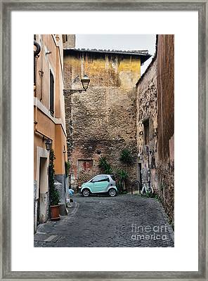 Street Scene From Trastevere District Of Rome Framed Print by Frank Bach