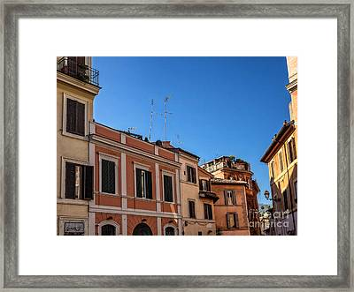 Street Scene From Trastevere District Of Rome Italy Framed Print by Frank Bach