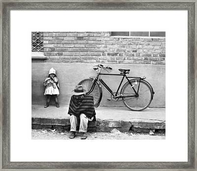 Street Scene In Colombia Framed Print by Underwood Archives