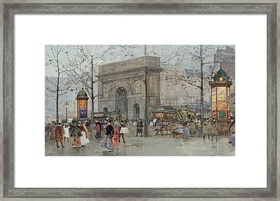 Street Scene In Paris Framed Print by Eugene Galien-Laloue