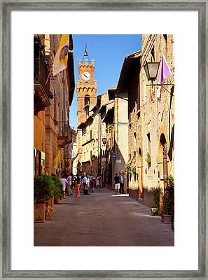 Street Scene In Pienza Tuscany, Italy Framed Print by Brian Jannsen