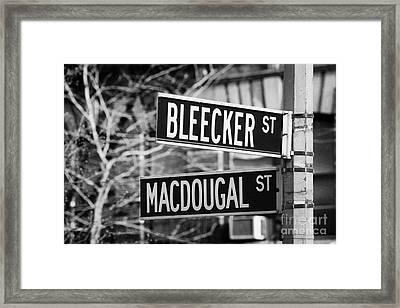 street signs at junction of Bleeker st and Macdougal street greenwich village new york city Framed Print by Joe Fox