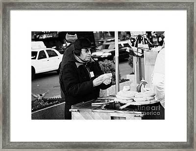Street Vendor Selling Hot Dogs New York City Framed Print by Joe Fox