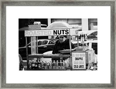 Street Vendor Selling Roasted Nuts And Soft Drinks West 34th Street New York City Framed Print by Joe Fox