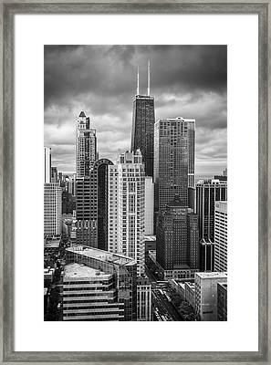 Streeterville From Above Black And White Framed Print by Adam Romanowicz