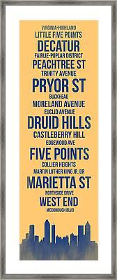 Streets Of Atlanta 3 Framed Print by Naxart Studio