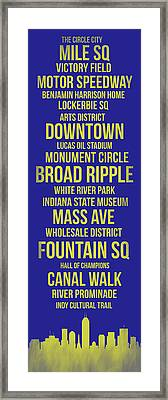Streets Of Indianapolis 3 Framed Print by Naxart Studio