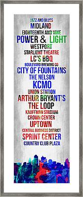 Streets Of Kansas 1 Framed Print by Naxart Studio