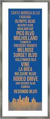 Streets Of Los Angeles 3 Framed Print by Naxart Studio