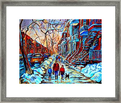 Streets Of Montreal Framed Print by Carole Spandau