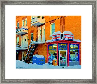 Streets Of Verdun Corner Depanneur Proprio Staircases In Winter Montreal City Scene Carole Spandau Framed Print by Carole Spandau