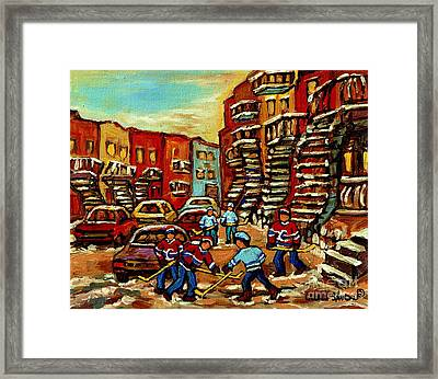 Streets Of Verdun Paintings He Shoots He Scores Our Hockey Town Forever Montreal City Scenes  Framed Print by Carole Spandau