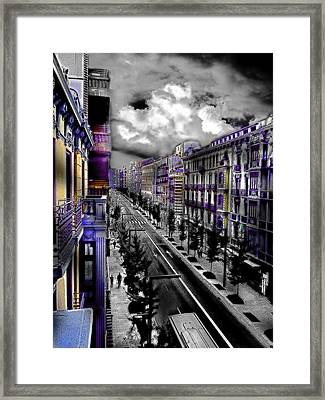 Streetwise In Spain Framed Print by Cary Shapiro