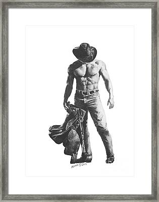 Strength Of A Cowboy Framed Print by Marianne NANA Betts