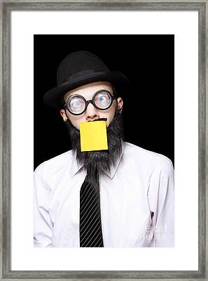 Stressed Mad Scientist With Sticky Note On Face Framed Print by Jorgo Photography - Wall Art Gallery