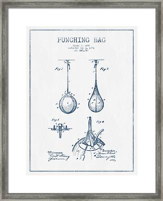 Striking Bag Patent Drawing From 1891  -  Blue Ink  Framed Print by Aged Pixel