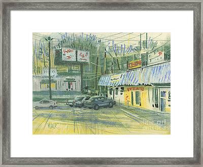 Strip Mall Bar Framed Print by Donald Maier